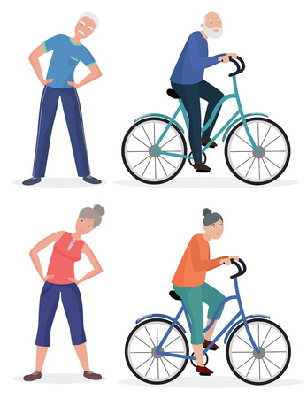 happy older couple: Fitness sport healthy old people grandparents couples set. Senior man and woman pedal bicycle