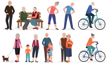 Old people in different activities situations collectoion. Grandparents couples set Çizim