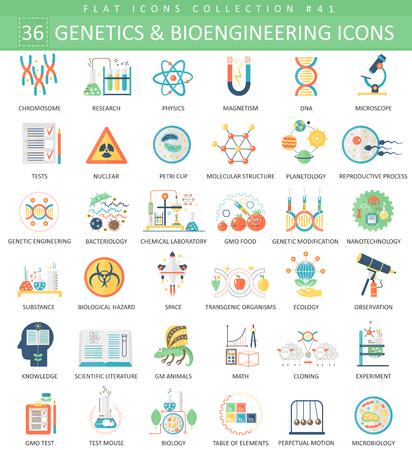 ベクトル遺伝学および生物工学フラット アイコンを設定。エレガントなスタイルのデザイン