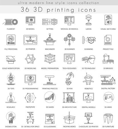 Vector 3D printing ultra modern outline line icons for web and apps Ilustração