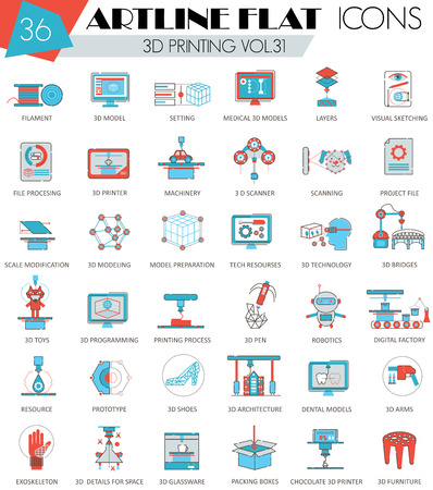 ultra modern: Vector 3D printing ultra modern outline artline flat line icons for web and apps