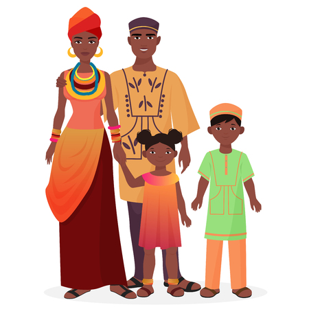 black family smiling: African family. African man and woman with boy and girl kids in traditional national clothes