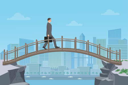 cliff: Businessman going on a bridge from mountain cliff on the modern city background Illustration