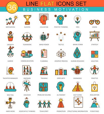 Vector Business motivation and discipline flat line icon set. Modern elegant style design for web