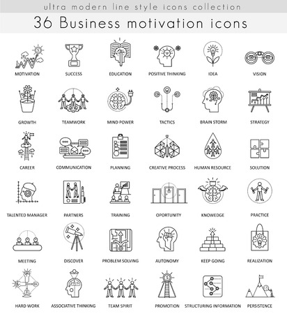 discipline: Vector Business motivation and discipline ultra modern outline line icons for web and apps