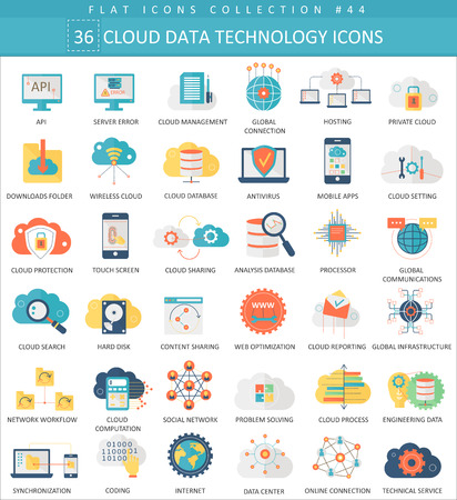 Vector Cloud data technology color flat icon set. Elegant style design