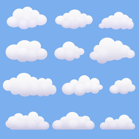 cloudy weather: Soft cartoon clouds set on the blue background Illustration