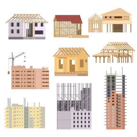 Vector flat Building under construction. Building house construction process icons set. Building with crane