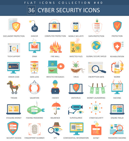 cyber attack: Vector Cyber security flat icon set. Elegant style design