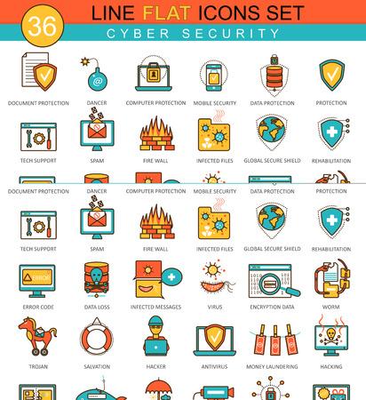 Vector Cyber security flat line icon set. Modern elegant style design for web Ilustração