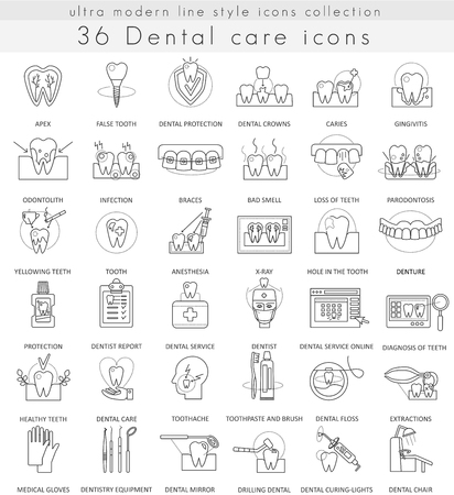 Vector Dental care ultra modern outline line icons for web and apps