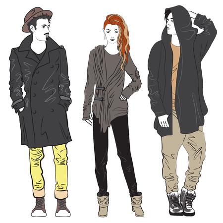 el hombre de moda e ilustración boceto mujer. chico y una chica de moda de la calle