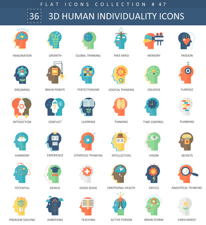 personality development: Vector Human mentality personality and individuality features color flat icon set. Elegant style design