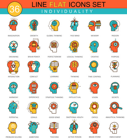 personality development: Vector Human personality and individuality features flat line icon set. Modern elegant style design for web Illustration
