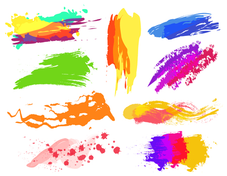 colors paint: Handmade vector colorful paint strokes collection. Dofferent colors Illustration