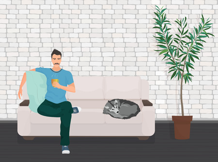 drinking coffee: Man with dog pet lying relaxing on the sofa couch and drinking coffee Illustration