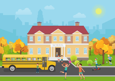front yard: School building with children in yard and yellow bus front. School and education vector illustration