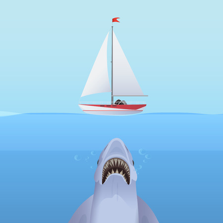man underwater: Hungry Shark Attack yacht ship from the ocean water Illustration