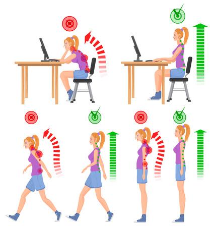 buena postura: Correcta y sin corregir malas posiciones sentado y de pie. Caminar mujer. Mujer que se sienta. Volver sensación de dolor y lesiones de la médula