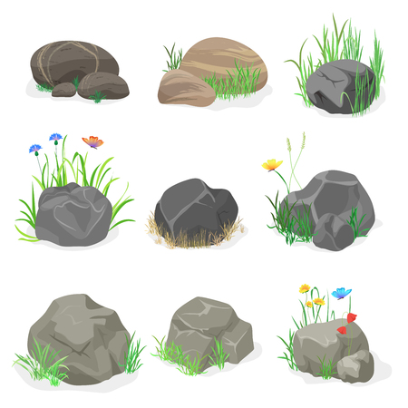 Rocks and stones with grass, flowers and butterfly collection set. Vector illustration
