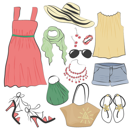 summer dress: Fashion casual woman summer dress clothes and accessories collection set