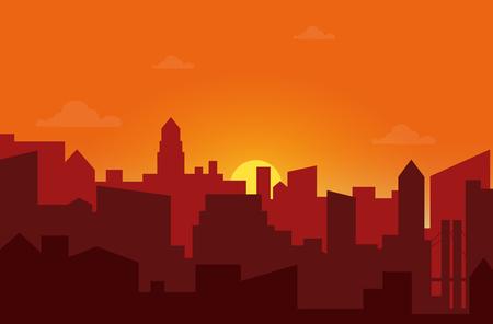 Sunset in the city. Cityscape silhouette sunrise vector illustration