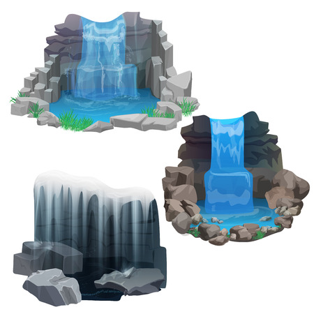waterfall: Tropical waterfall collection set. Ice Frozen waterfall.
