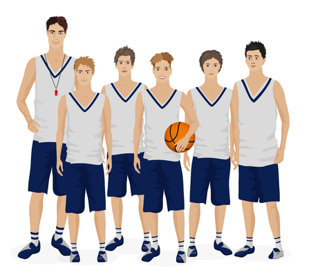 Young guys school basketball team with trainer Vektorové ilustrace