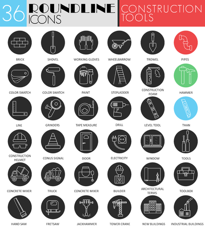 Vector building and construction tools circle white black icon set. Modern line black icon design for web Ilustrace