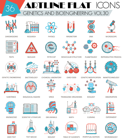 bioengineering: Vector Genetics and bioengineering ultra modern outline artline flat line icons for web and apps