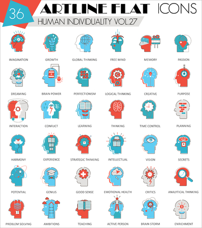 personality: Vector Human mentality personality and individuality features ultra modern outline artline flat line icons for web and apps