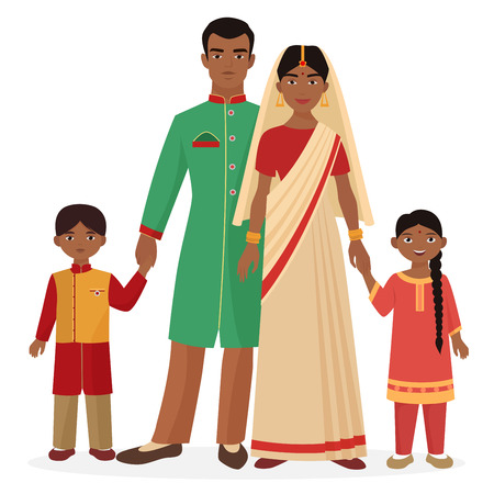 Indian family. Indian man and woman with boy and girl kids in traditional national clothes
