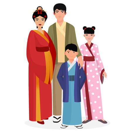 asian family: Japanese family. Japanese man and woman with kids in traditional national clothes