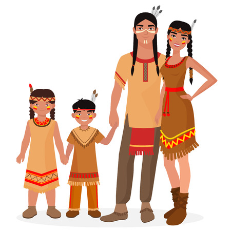 Native American Indian traditional family. American Indian man and woman. American Indian boy and girl kids. Apache people