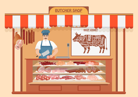 veal: Butcher Shop. Meat Seller. Store shelves with pork meat, veal and ham, salami slices, sausage, bacon and beef. Fresh steak Illustration