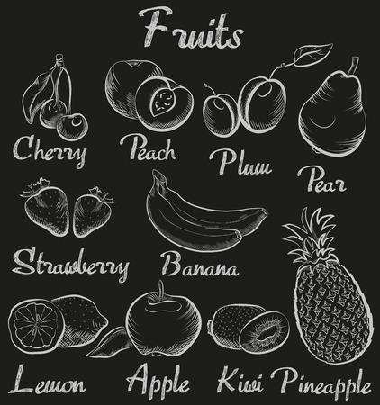 Vintage fruits. Hand-drawn chalk blackboard sketch organic fruit collection