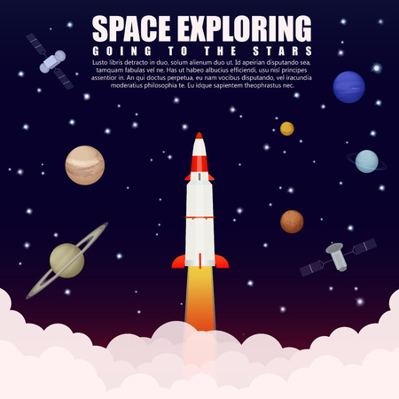 satellite launch: Space rocket launch exploring and research with satellite and planets. Business startup. Vector illustration poster