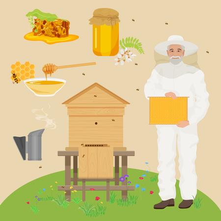bee house: Man beekeer in special uniform costume. Apiary beekeeper concept illustration. Bee house, honey, flowers, bee, honeycomb