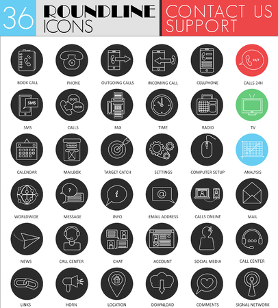 contact icon: Vector contact us circle white black icon set. Modern line black support icon design for web Illustration