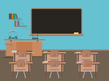 empty classroom: Empty school classroom with blackdesk, pupils tables and chairs