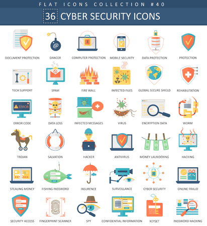 Vector Cyber ​​security flat icon set. Elegante stijl ontwerp