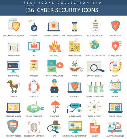 Vector la seguridad cibernética conjunto de iconos plana. diseño de estilo elegante Ilustración de vector