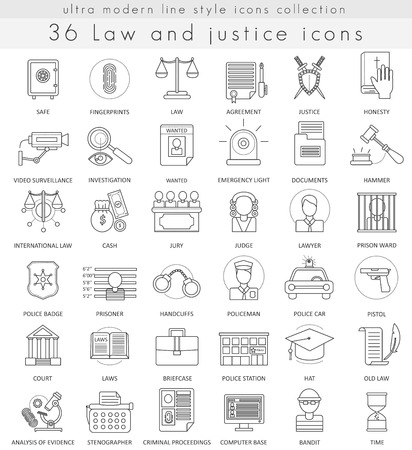 prosecutor: Vector Law and justice ultra modern outline line icons for web and apps Illustration