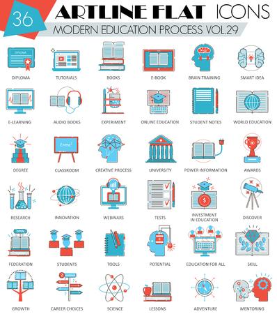 ultra modern: Vector Modern online education ultra modern outline artline flat line icons for web and apps Illustration