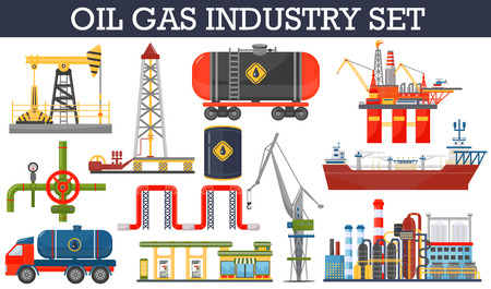 Oil gas industry infographics concept. Gasoline diesel fuel transportation and distribution icons Illustration