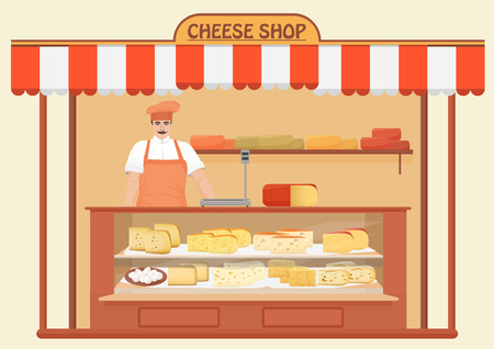 parmesan: Cheese Shop. Man Seller. Store shelves with different kind of Cheese set. Parmesan mozarella swiss emmentaler cheddar gouda icons collection