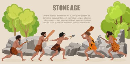 stone age: Stone age war primitive men tribes fighting. Barbarian Caveman warrior, ancient man with weapons