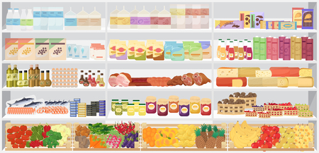 shelfs: Store supermarket shelves shelfs with products. Vector illustration
