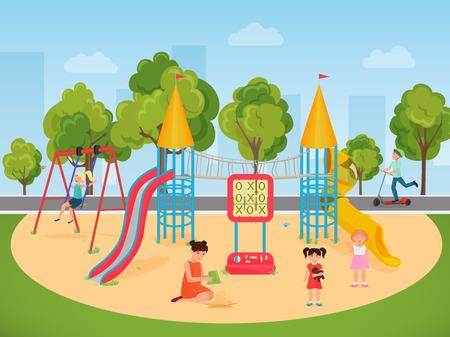 Bambini che giocano nel parco giochi. Illustrazione vettoriale Vettoriali
