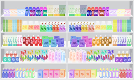 shelfs: Store supermarket shelves shelfs with household chemicals